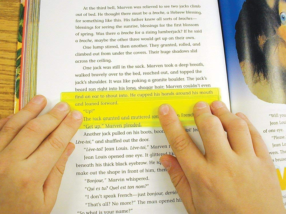 Colorful and transparent layers that help to follow the line while reading.