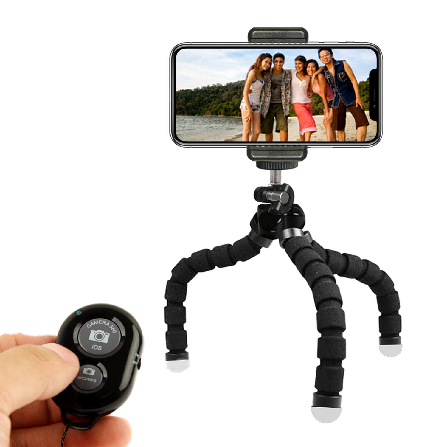 This is a phone tripod with tree banding and flexible legs. Allows also remote control with a small round controller.